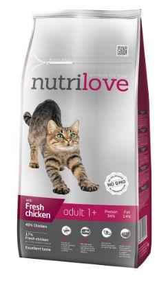 Obrázek Nutrilove kočka Adult fresh kuřecí, granule 8 kg