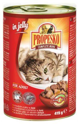 Obrázek PROPESKO CAT kousky hovězí s játra v želé 415g-9024-OBJ