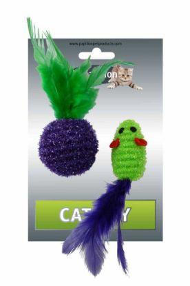 Obrázek Myš a míček s peřím zeleno-fialová třpyt