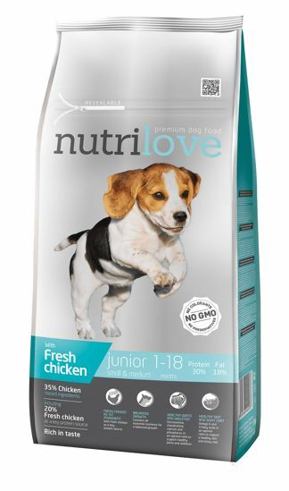 Obrázek z Nutrilove pes Junior Small & Medium fresh kuřecí, granule 8 kg
