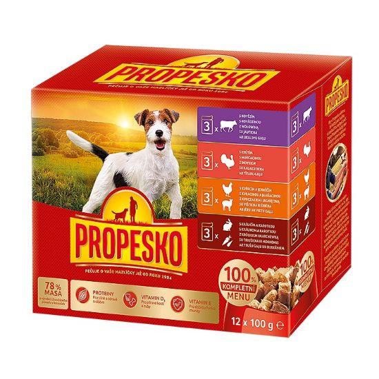 Obrázek z PROPESKO Dog kuřecí/jehněčí, krůta, králík s mrkví, kapsa 100 g (pack 12 ks)
