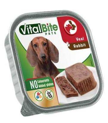 Obrázek VitalBite masové kousky s telecím a králičím, vanička 150 g