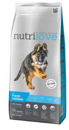 Obrázek Nutrilove pes Junior Large fresh kuřecí, granule 3 kg