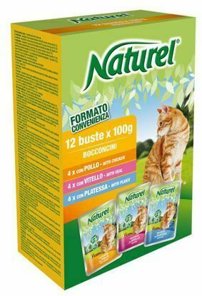 Obrázek Naturel cat pouches BOX 12x100g-Chicken, Veal, Plaice-030051