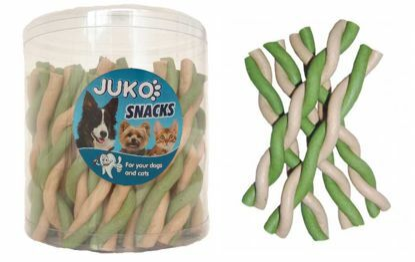 Obrázek Jerky tyčka kroucená vanilka & mint JUKO SNACKS (50 ks)