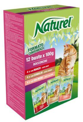 Obrázek Naturel Cat Beef, Rabbit, Salmon, kapsička 100 g (box 12 ks)