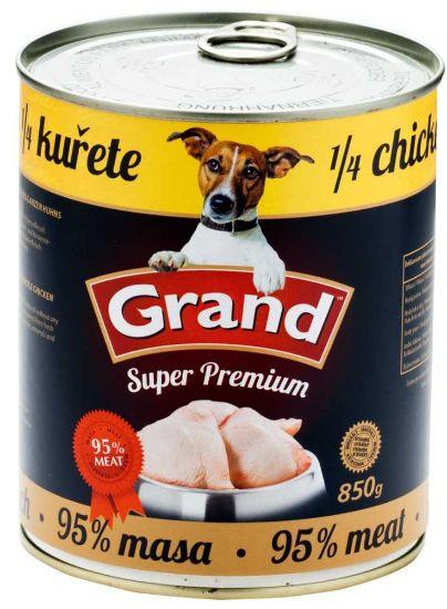 Obrázek z GRAND Superpremium Dog kuřecí s 1/4 kuřete 850 g