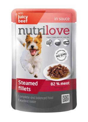 Obrázek Nutrilove pes hovězí ve štávě, kapsička 85 g