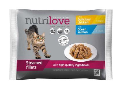 Obrázek Nutrilove kočka losos a kuře ve šťávě, kapsička (4 x 85 g)