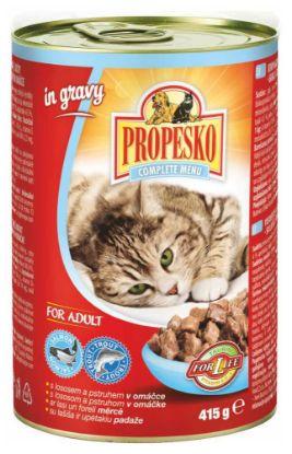 Obrázek PROPESKO CAT kousky losos+pstruh v omáč 415g-9025