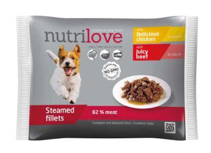 Obrázek Nutrilove pes kuřecí a hovězí ve štávě, kapsička 85 g (pack 4 ks)