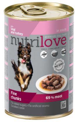 Obrázek Nutrilove pes telecí a krůtí kousky ve štávě, konzerva 415 g