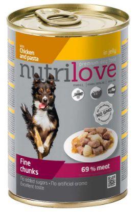 Obrázek Nutrilove pes kuřecí, těstoviny kousky v želé, konzerva 415 g