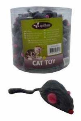 Obrázek Myš s kožešinou šedá chrastící 5 cm