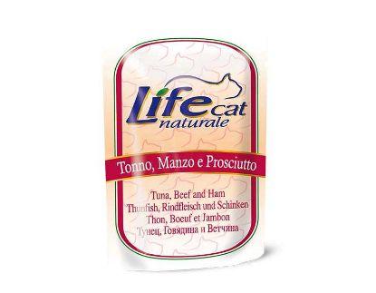 Obrázek Lifecat pouch Tuna, beef and ham 70g-10124