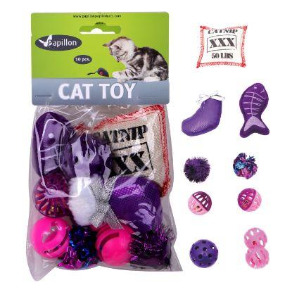 Obrázek Hračky pro kočky -fialkový Mix 10ks-240099