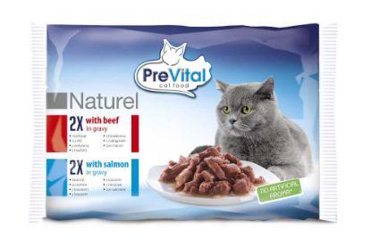 Obrázek PreVital Naturel hovězí a losos, kapsa 85 g (pack 4 ks)