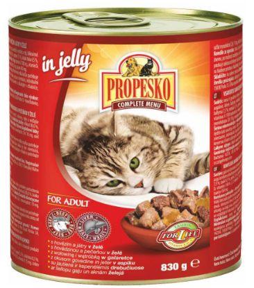 Obrázek PROPESKO Cat hovězí a játra v želé, konzerva 830 g