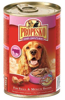 Obrázek PROPESKO Dog kuřecí, hovězí a zvěřina, kousky 415 g