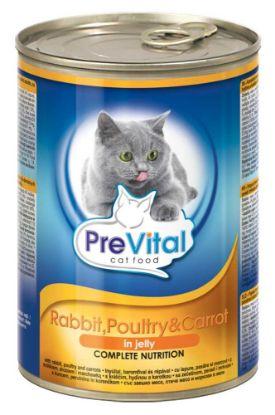 Obrázek PreVital kousky kočka králík+drůbeží+mrkev v želé 415g-12761