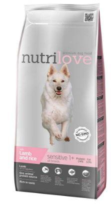 Obrázek Nutrilove pes Sensitive jehněčí a rýže, granule 3 kg