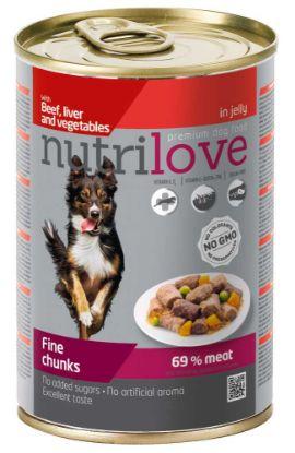 Obrázek Nutrilove pes hovězí, játra, zelenina kousky v želé, konzerva 415 g