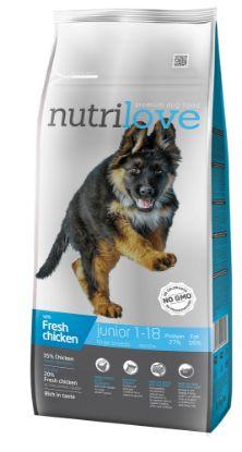 Obrázek Nutrilove pes Junior Large fresh kuřecí, granule 12 kg