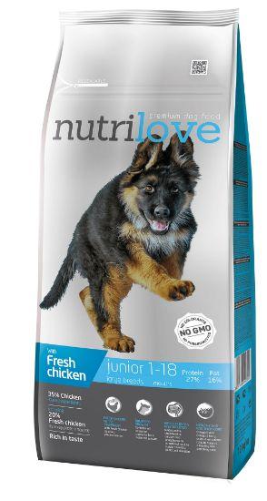 Obrázek z Nutrilove pes Junior Large fresh kuřecí, granule 12 kg