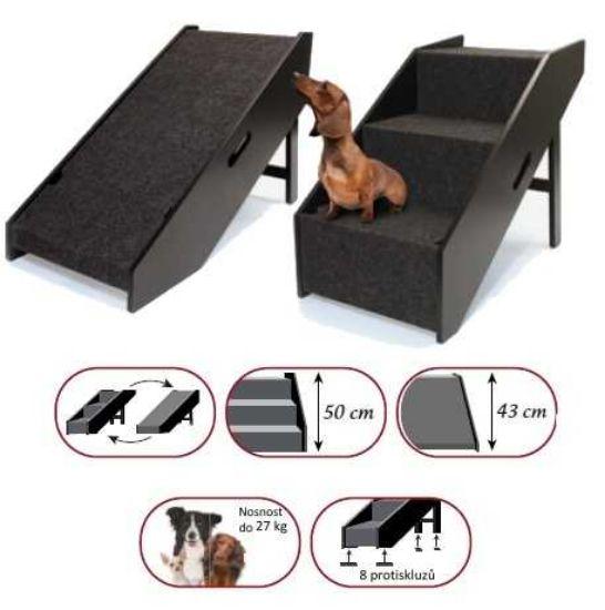 Obrázek z Schody/rampa dřevěné -černé-2v1 pro psy/kočky Croci-0995C
