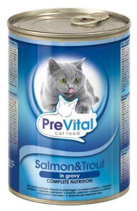 Obrázek PreVital kočka losos a pstruh v omáčce, kousky 415 g