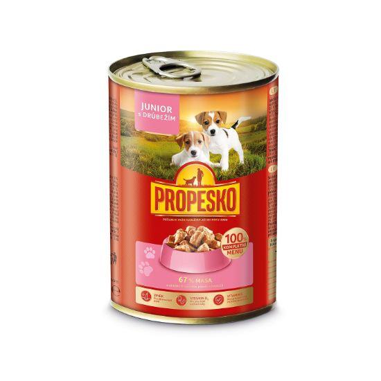 Obrázek z PROPESKO Dog Junior drůbeží, kousky 415 g