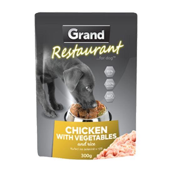 Obrázek z Grand deluxe Restaurant Kuřecí na zelenině kapsy pro psy 300 g