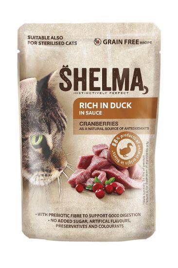 Obrázek z SHELMA Cat kachní s brusinkami v omáčce, kapsa 85 g