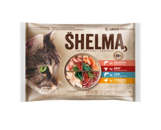 Obrázek z SHELMA Cat kuřecí, hovězí, losos a treska, kapsa 85 g (4 ks)