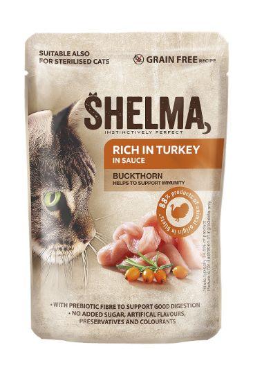 Obrázek z SHELMA Cat krůtí s rakytníkem v omáčce, kapsa 85 g