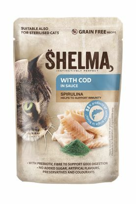 Obrázek SHELMA Cat treska se spirulinou v omáčce, kapsa 85 g