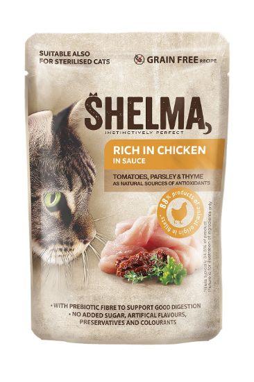 Obrázek z SHELMA Cat kuřecí s rajčaty a bylinkami v omáčce, kapsa 85 g
