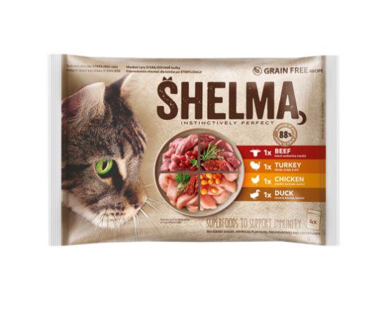 Obrázek z SHELMA Cat kuřecí, hovězí, kachní a krůtí, kapsa 85 g (4 ks)