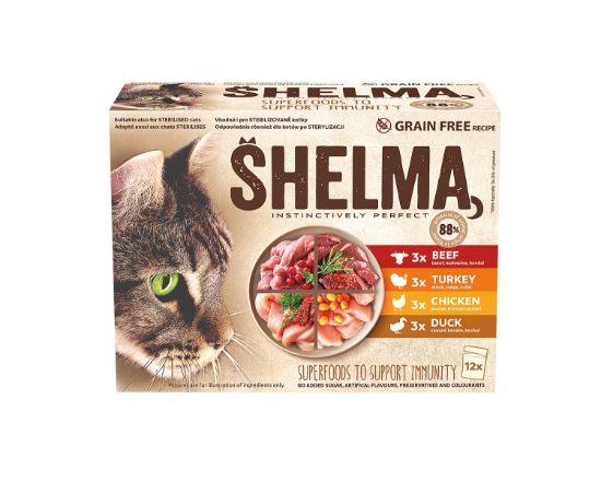 Obrázek z SHELMA Cat kuřecí, hovězí, kachní akrůtí, kapsa 85 g (12 ks)