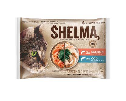 Obrázek SHELMA Cat losos a treska, kapsa 85 g (4 ks)