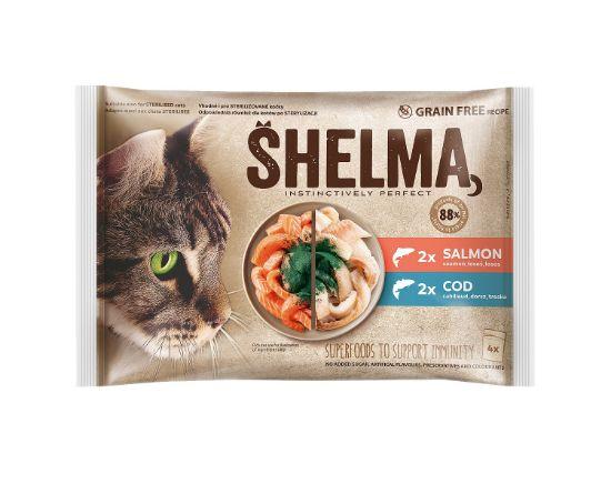Obrázek z SHELMA Cat losos a treska, kapsa 85 g (4 ks)