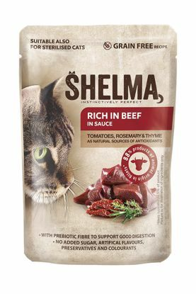 Obrázek SHELMA Cat hovězí s rajčaty a bylinkami v omáčce, kapsa 85 g