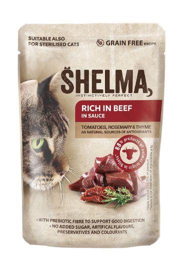 Obrázek z SHELMA Cat hovězí s rajčaty a bylinkami v omáčce, kapsa 85 g