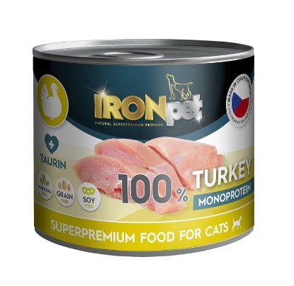Obrázek IRONpet Cat Turkey (Krůtí) 100% Monoprotein, konzerva 200 g