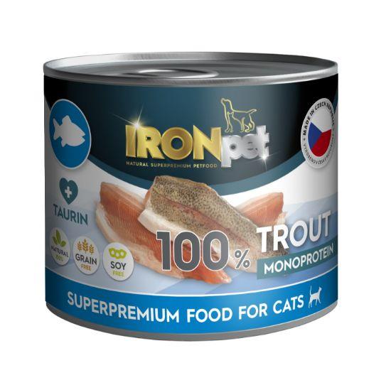 Obrázek z IRONpet Cat Trout (Pstruh) 100 % Monoprotein, konzerva 200 g