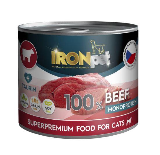 Obrázek z IRONpet Cat Beef (Hovězí) 100 % Monoprotein, konzerva 200 g