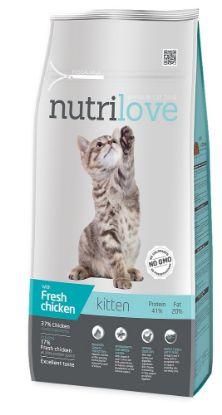 Obrázek Nutrilove kočka Kitten kuřecí, granule 8 kg