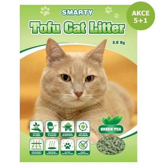 Obrázek z Smarty Tofu Cat Litter Green Tea podestýlka 6 l AKCE 5+1 ks ZDARMA