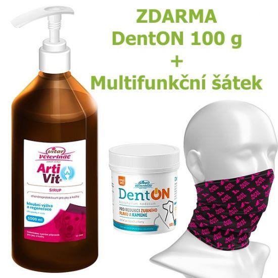 Obrázek z Vitar veterinae Artivit sirup s pumpičkou 1000 ml DÁREK DENTON 100 g a Multifunkční šátek Vitar