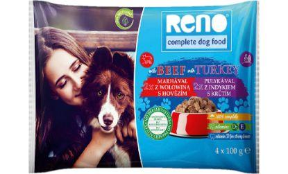 Obrázek RENO Dog hovězí a krůta, kapsa 100 g (pack 4 ks)